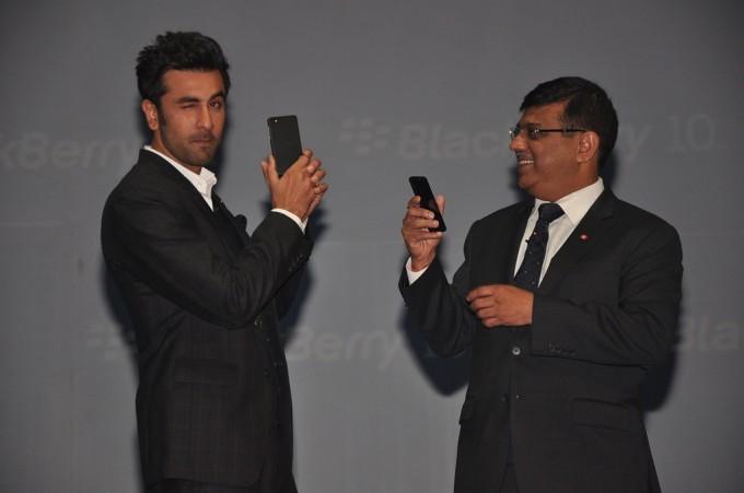 Mr. Sunil Dutt, MD, BlackBerry and Mr. Ranbir Kapoor at the launch of BlackBerry Z10