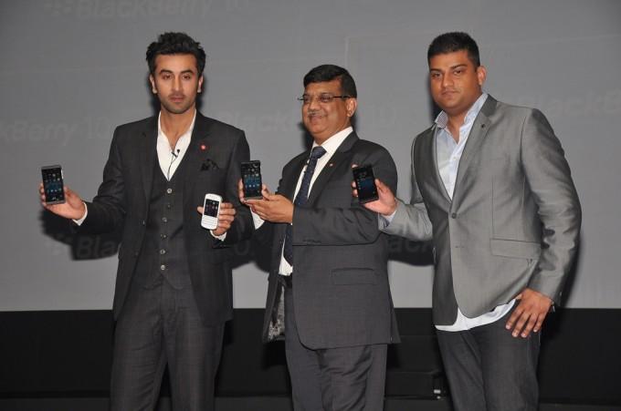 Ranbir Kapoor, Sunil Dutt, MD, BlackBerry, Vivek Bharadwaj, Head of software portfolio, BlackBerry at the India launch of BlackBerry Z10