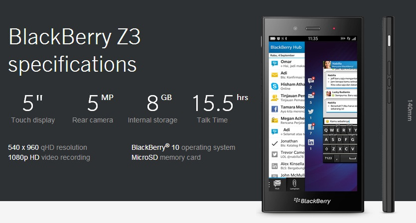 made blackberry z3 full specification and price in india may turn out