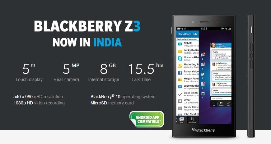 now blackberry z3 full specification and price in india will